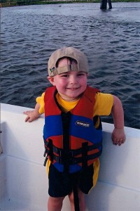 child wearing life jacket