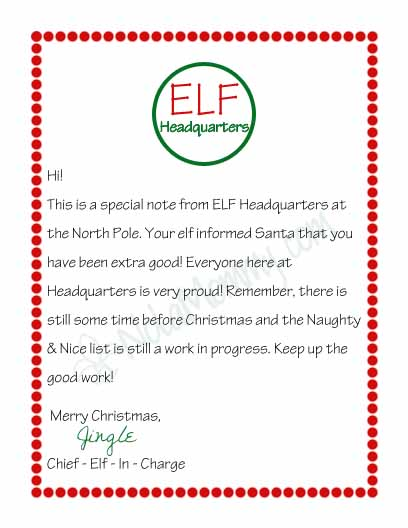 Printable Letter From Elf On Shelf